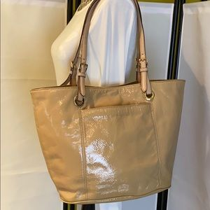 Michael Kors Large Nude Beige Patent Leather Tote